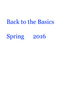 Back to the Basics Spring 2016